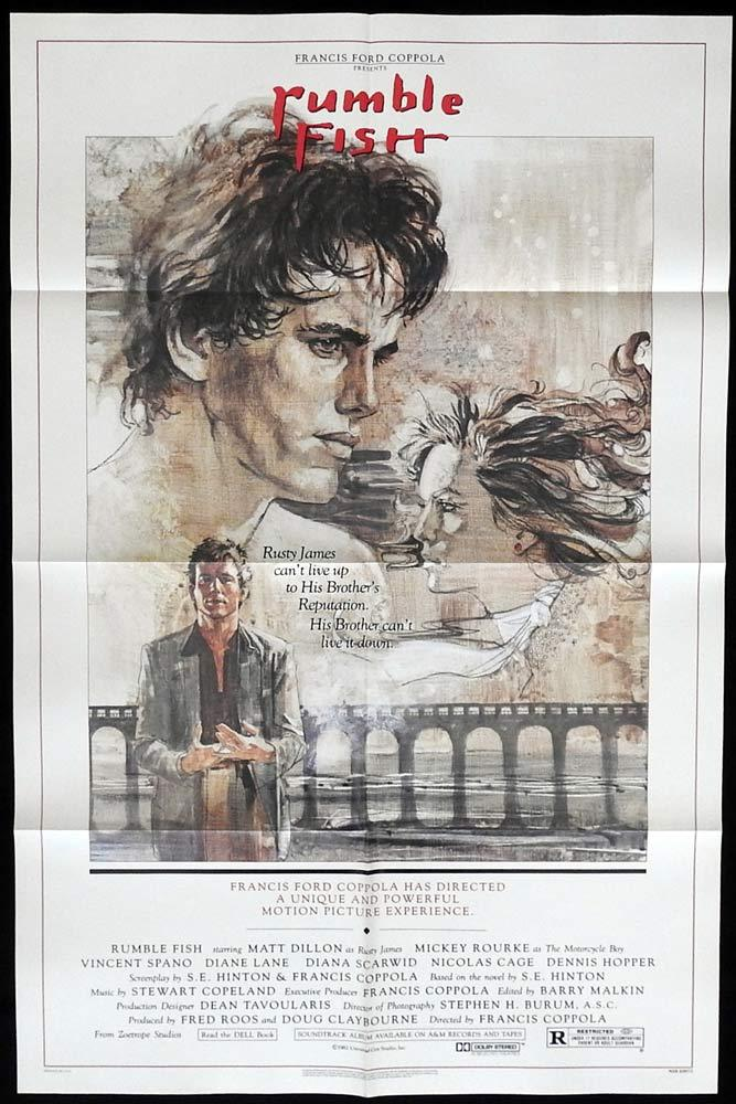 RUMBLE FISH Original One sheet Movie poster Matt Dillon Mickey Rourke