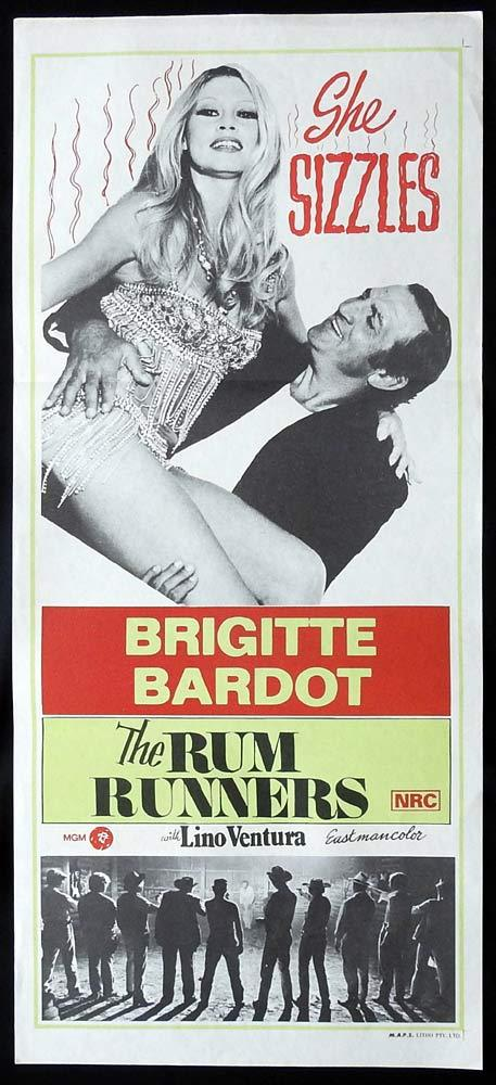 THE RUM RUNNERS Original Daybill Movie Poster Lino Ventura Brigitte Bardot