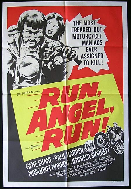 RUN ANGEL RUN One sheet Movie poster William Smith BIKER MOTORCYCLE