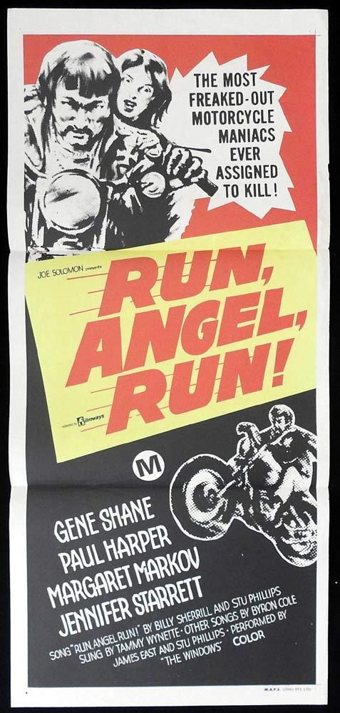 RUN ANGEL RUN Original Daybill Movie Poster Motorcycle Biker