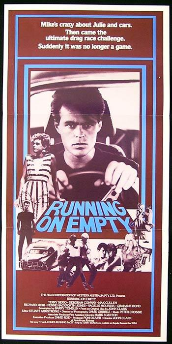 RUNNING ON EMPTY Original Daybill Movie Poster 1982 Terry Serio Car Racing