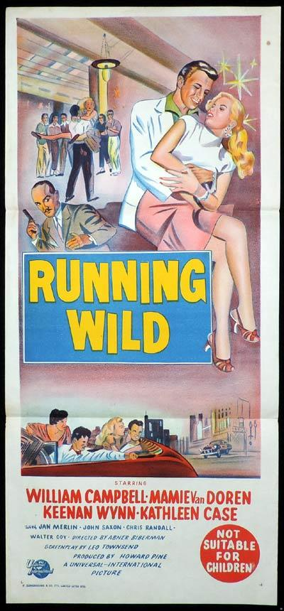 RUNNING WILD Daybill Movie Poster Mamie Van Doren