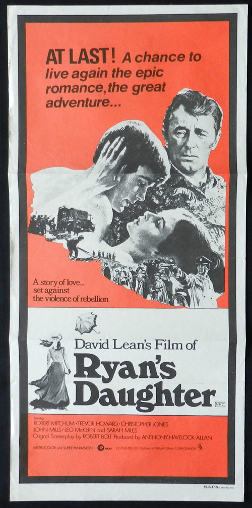 RYAN'S DAUGHTER 1970s Daybill RR Movie Poster Robert Mitchum Sarah Miles