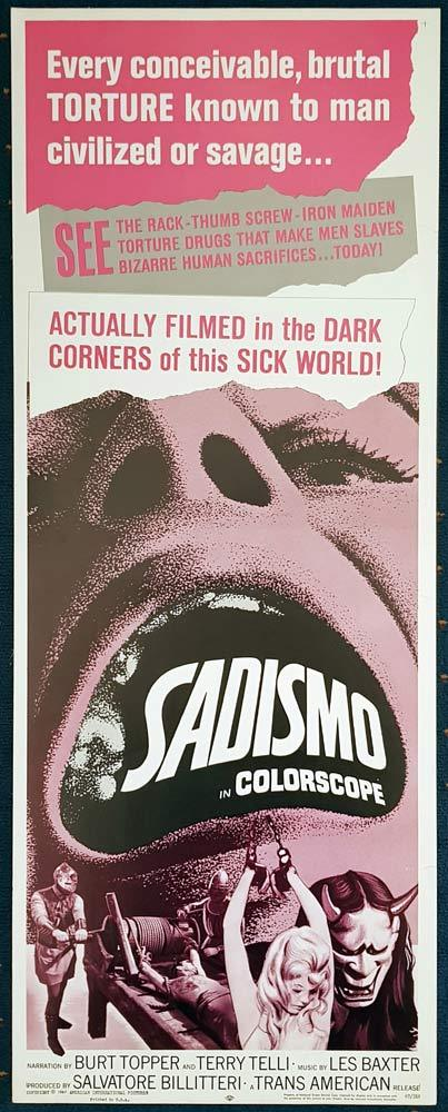 SADISMO Original US Insert Movie Poster Mondo Horror Terry Telli