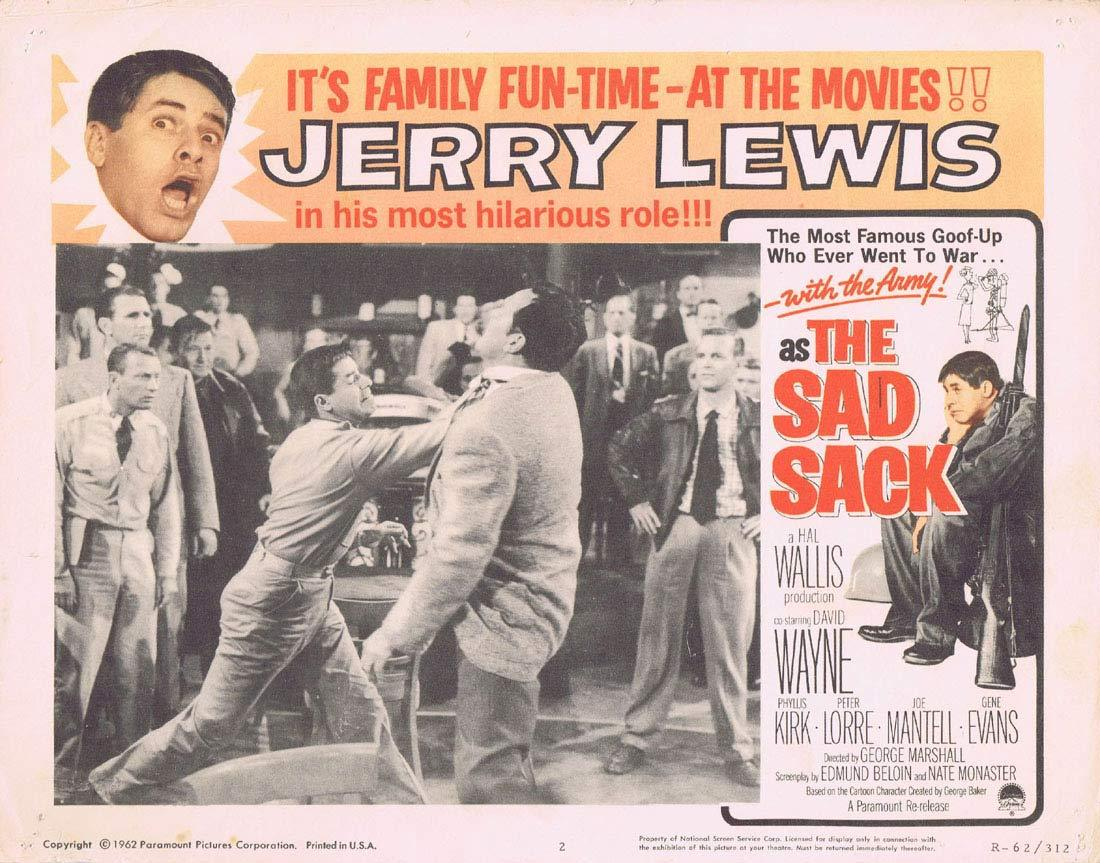 THE SAD SACK Original Lobby Card 2 JERRY LEWIS 1962r Peter Lorre