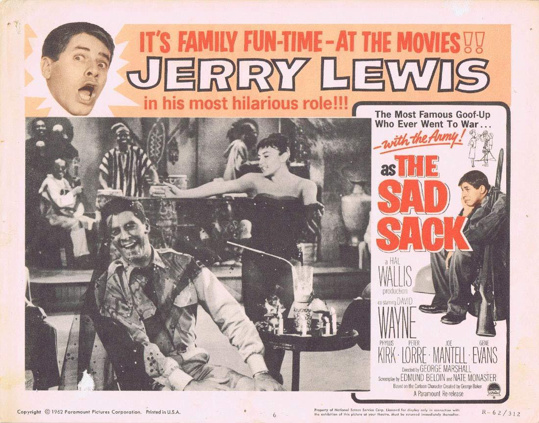 THE SAD SACK Original Lobby Card 6 JERRY LEWIS 1962r Peter Lorre