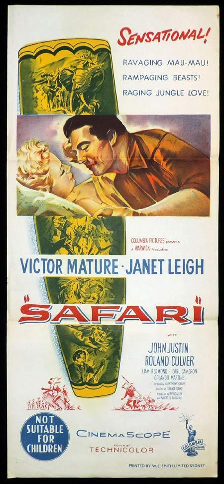 SAFARI Original Daybill Movie Poster Victor Mature Janet Leigh