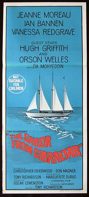 SAILOR FROM GIBRALTAR Daybill Movie Poster 1967 Jeanne Moreau