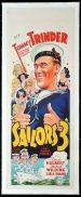 SAILORS THREE Long Daybill Movie Poster 1940 Tommy Trinder Ealing Studios