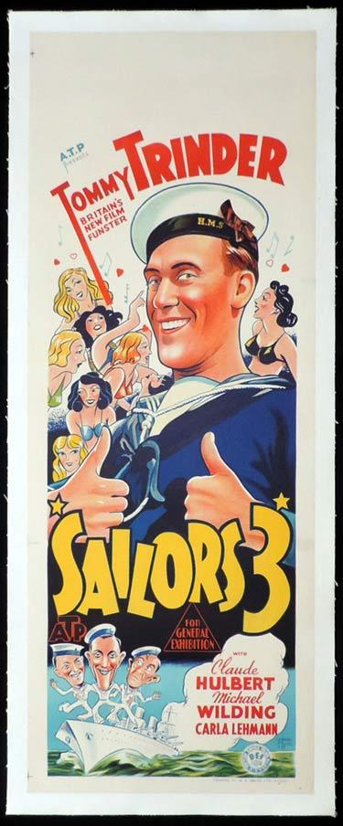 SAILORS THREE Long Daybill Movie Poster 1940 Tommy Trinder Ealing Studios