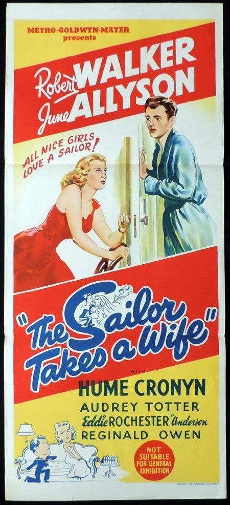 THE SAILOR TAKES A WIFE Original Daybill Movie Poster Robert Walker June Allyson