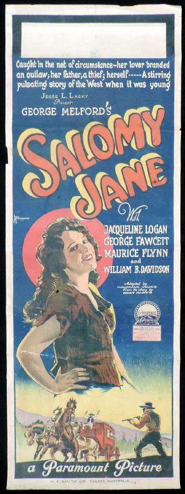 SALOMY JANE Long Daybill Movie poster 1923 JOHN RICHARDSON signature