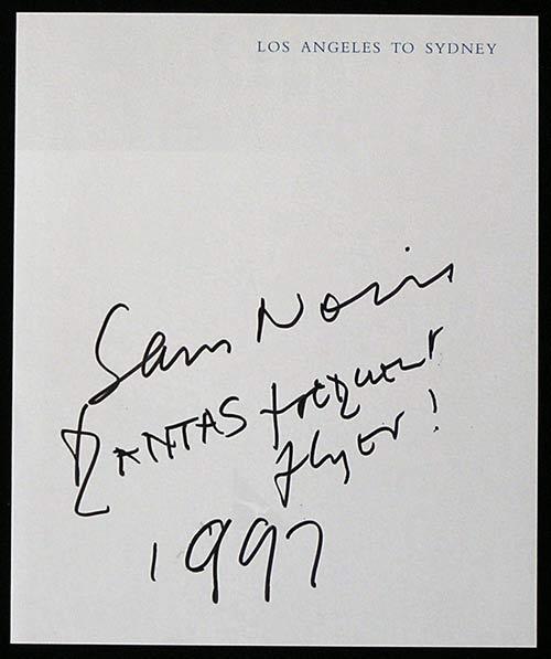"SAM NEILL – Autograph on Qantas Flight – ""Qantas Frequent Flyer"""