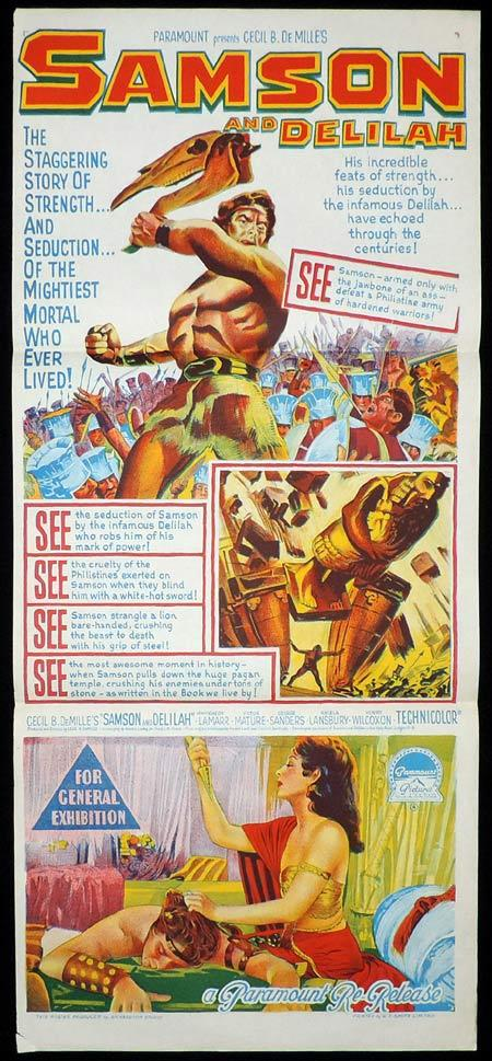 SAMSON AND DELILAH Original Daybill Movie Poster Richardson Studio