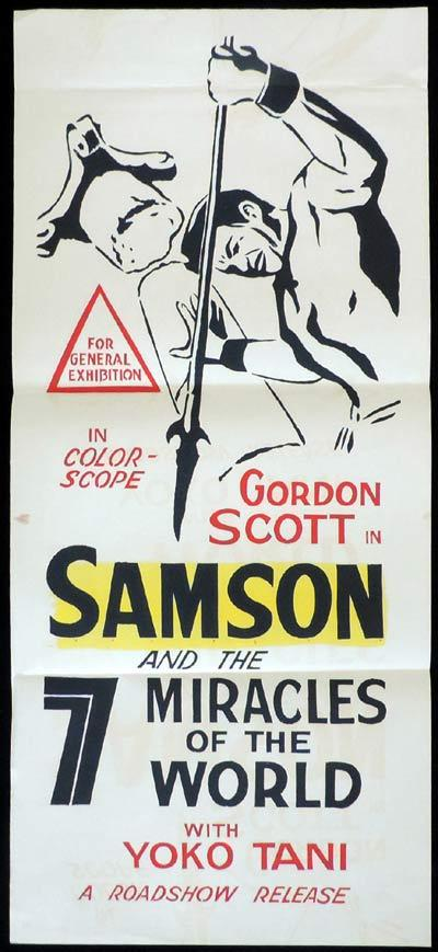 SAMSON AND THE 7 MIRACLES OF THE WORLD Original Daybill Movie Poster Gordon Scott