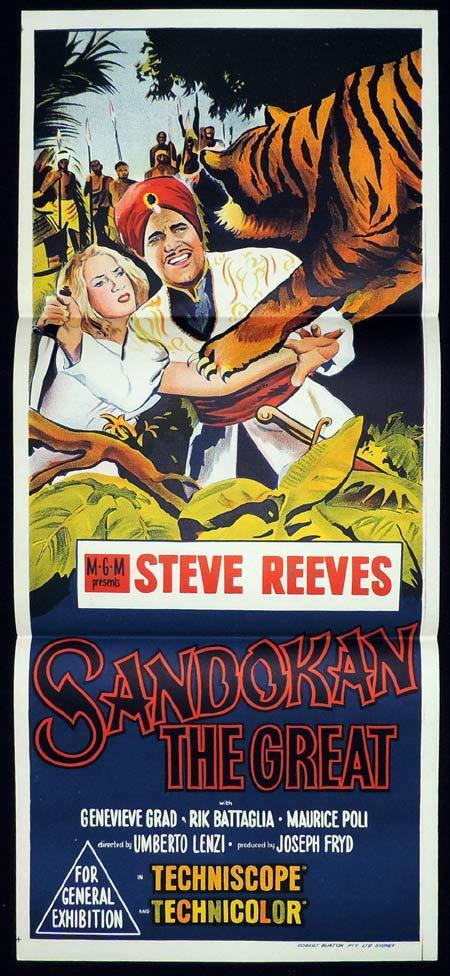 SANDOKAN THE GREAT Original Daybill Movie Poster Steve Reeves Tiger art