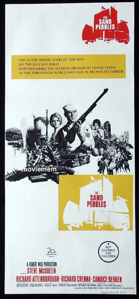 THE SAND PEBBLES Original Daybill Movie Poster Steve McQueen Richard Attenborough