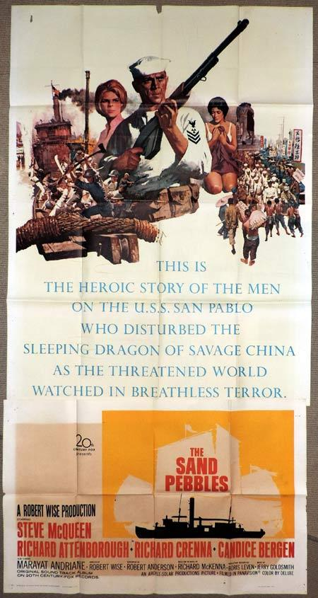THE SAND PEBBLES Original 3 Sheet Movie Poster Steve McQueen
