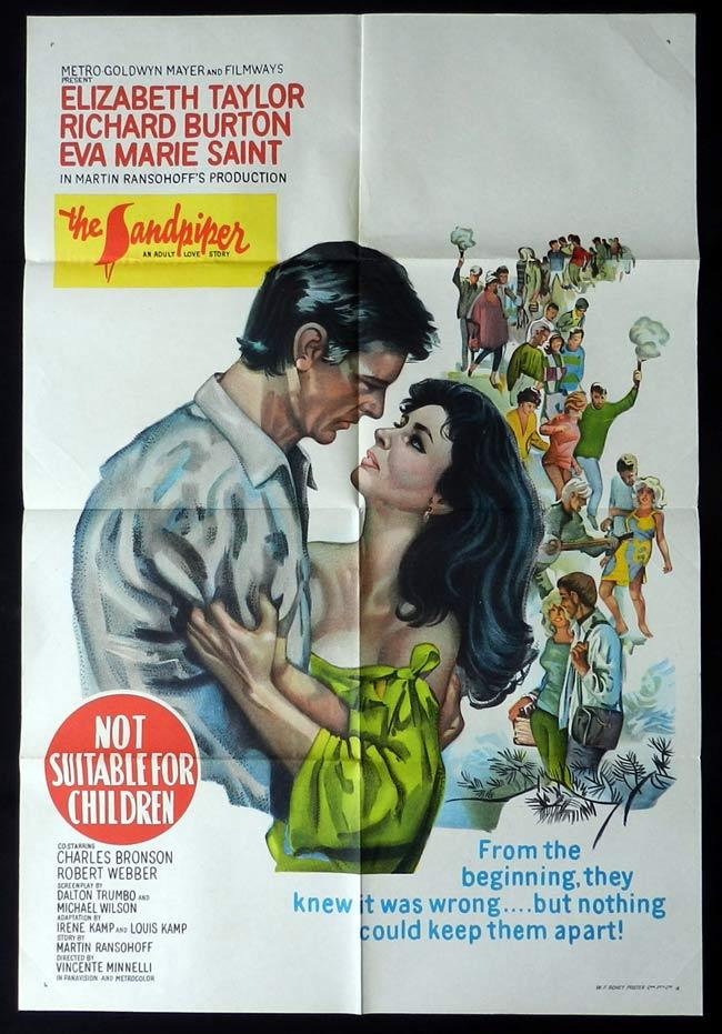 THE SANDPIPER Original One sheet Movie Poster Elizabeth Taylor Richard Burton
