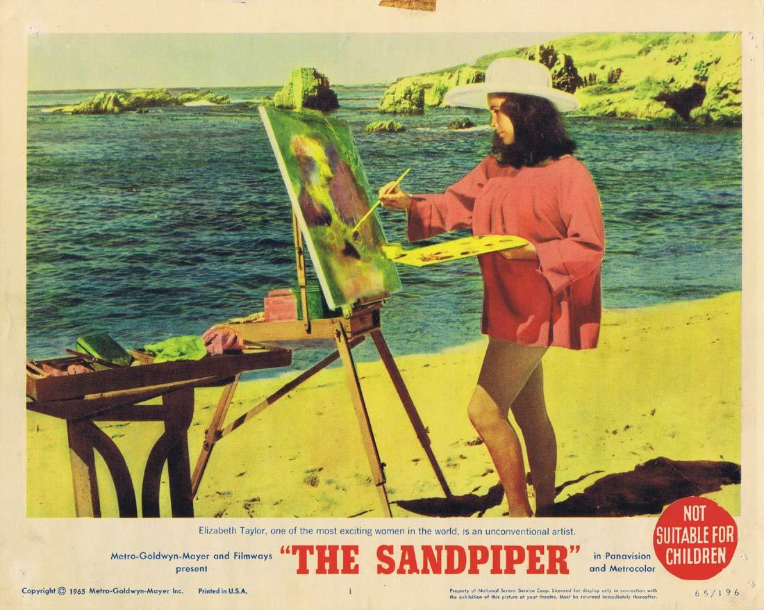 THE SANDPIPER Original Lobby Card 1 Elizabeth Taylor Richard Burton