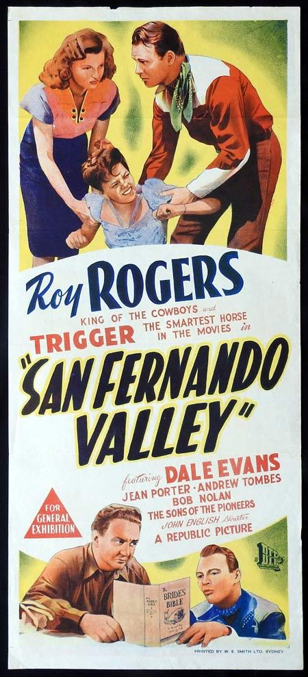 SAN FERNANDO VALLEY Original daybill Movie Poster Roy Rogers Dale Evans Jean Porter