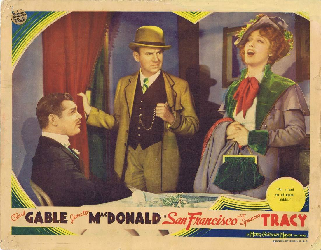 SAN FRANCISCO Original Lobby Card 2 Jeanette MacDonald Clark Gable