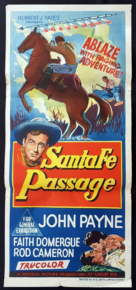 SANTA FE PASSAGE Original Daybill Movie Poster  John Payne 1955