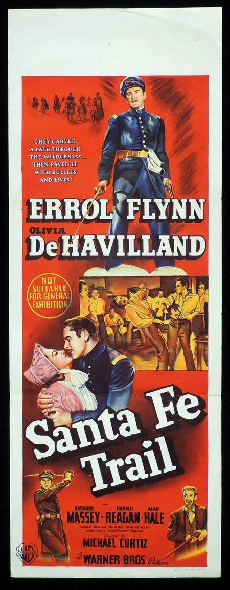 SANTA FE TRAIL Original Daybill Movie Poster ERROL FLYNN Olivia DeHavilland