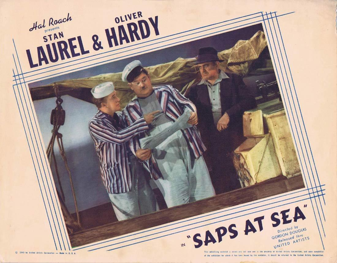 SAPS AT SEA Original Lobby Card Laurel And Hardy 1940