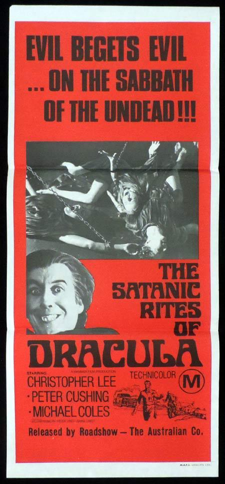 THE SATANIC RITES OF DRACULA Original Daybill Movie Poster HAMMER HORROR Christopher Lee