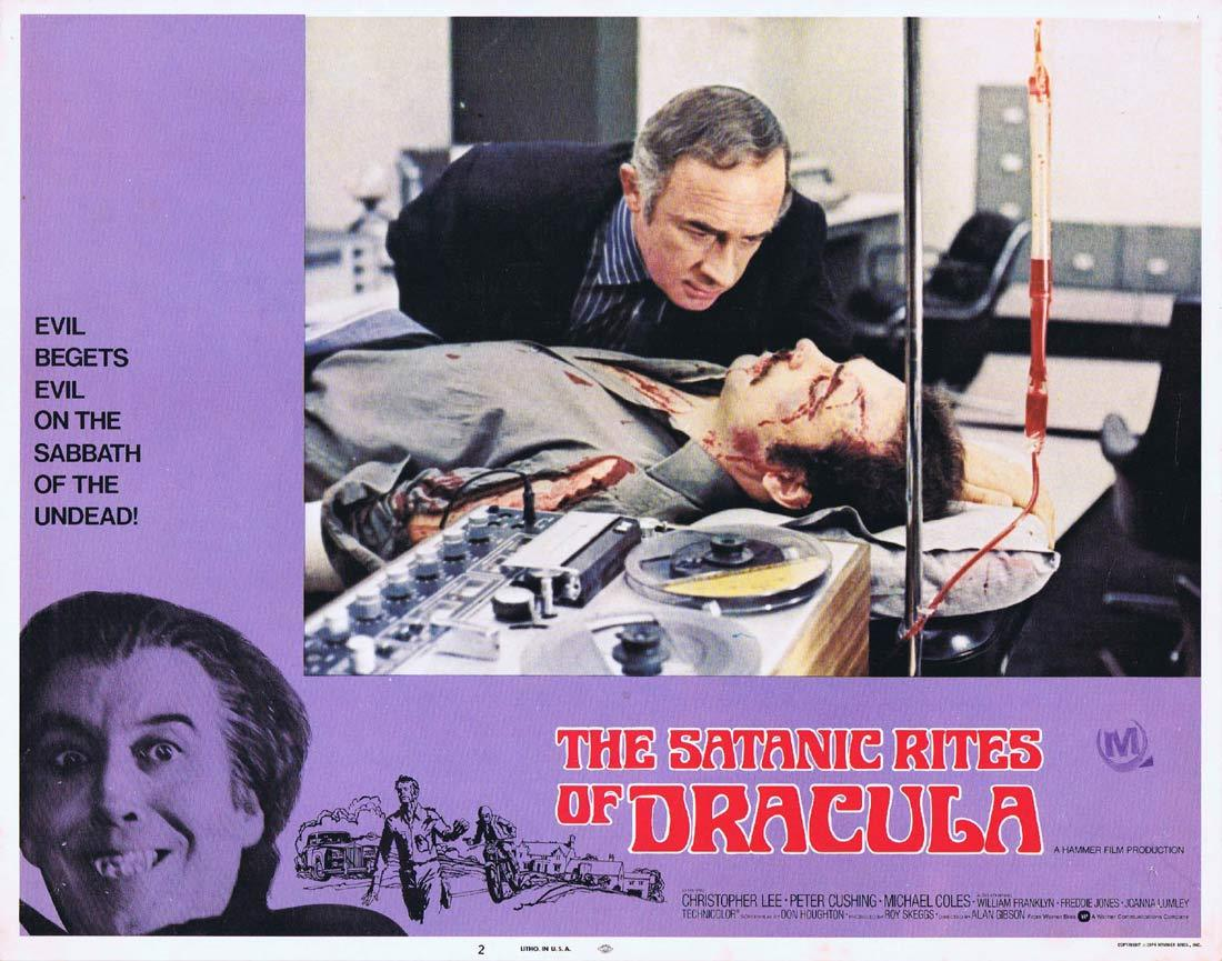 THE SATANIC RITES OF DRACULA Original Lobby Card 2 Christopher Lee Peter Cushing