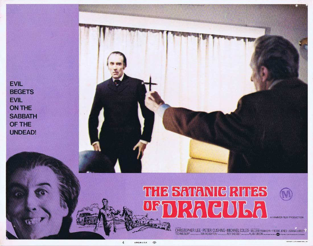 THE SATANIC RITES OF DRACULA Original Lobby Card 4 Christopher Lee Peter Cushing