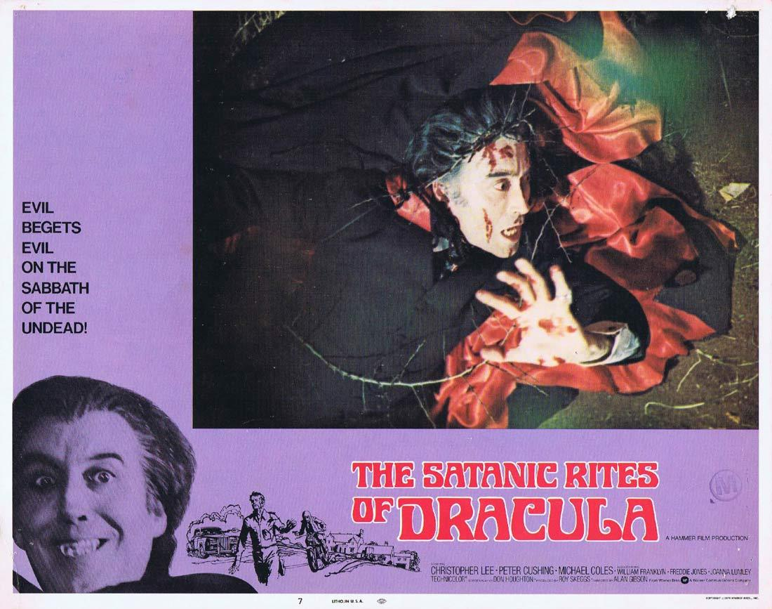 THE SATANIC RITES OF DRACULA Original Lobby Card 7 Christopher Lee Peter Cushing