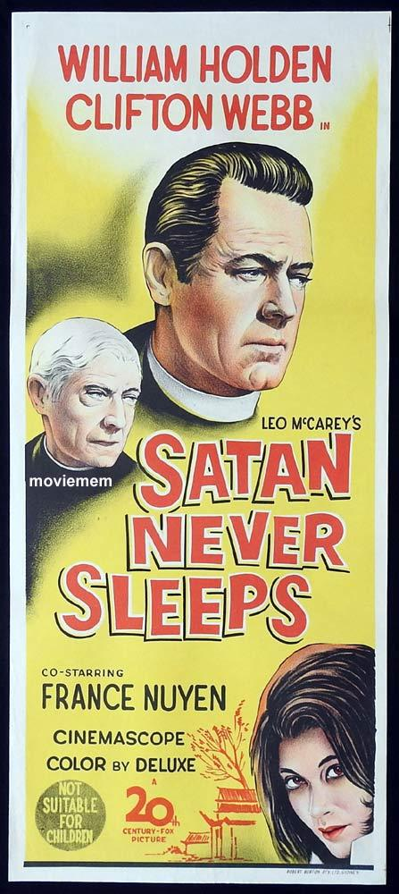 SATAN NEVER SLEEPS Original Daybill Movie Poster William Holden Clifton Webb