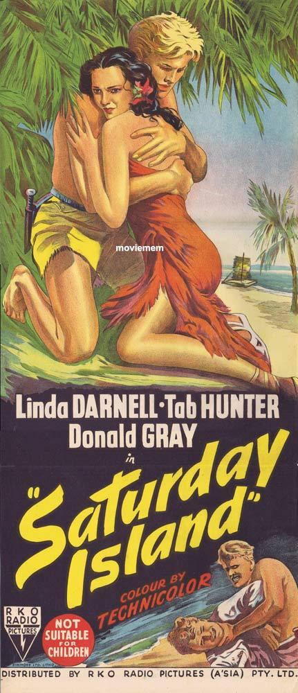 SATURDAY ISLAND aka ISLAND OF DESIRE Original Daybill Movie Poster RKO Linda Darnell