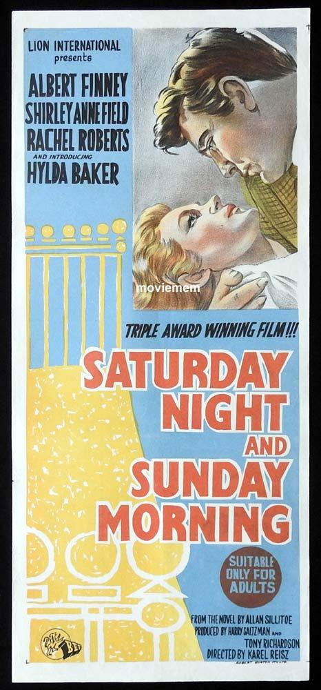 SATURDAY NIGHT AND SUNDAY MORNING Original Daybill Movie Poster Albert Finney Shirley Anne Field