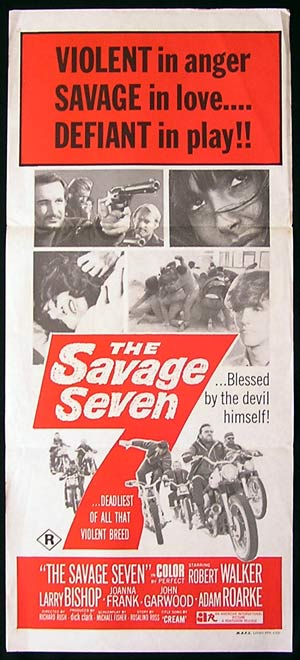 THE SAVAGE SEVEN '68 Robert Walker BIKER MOTORCYCLE Rare poster