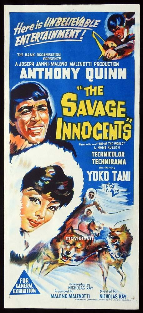 THE SAVAGE INNOCENTS Original Daybill Movie Poster Anthony Quinn Peter O'Toole Eskimos