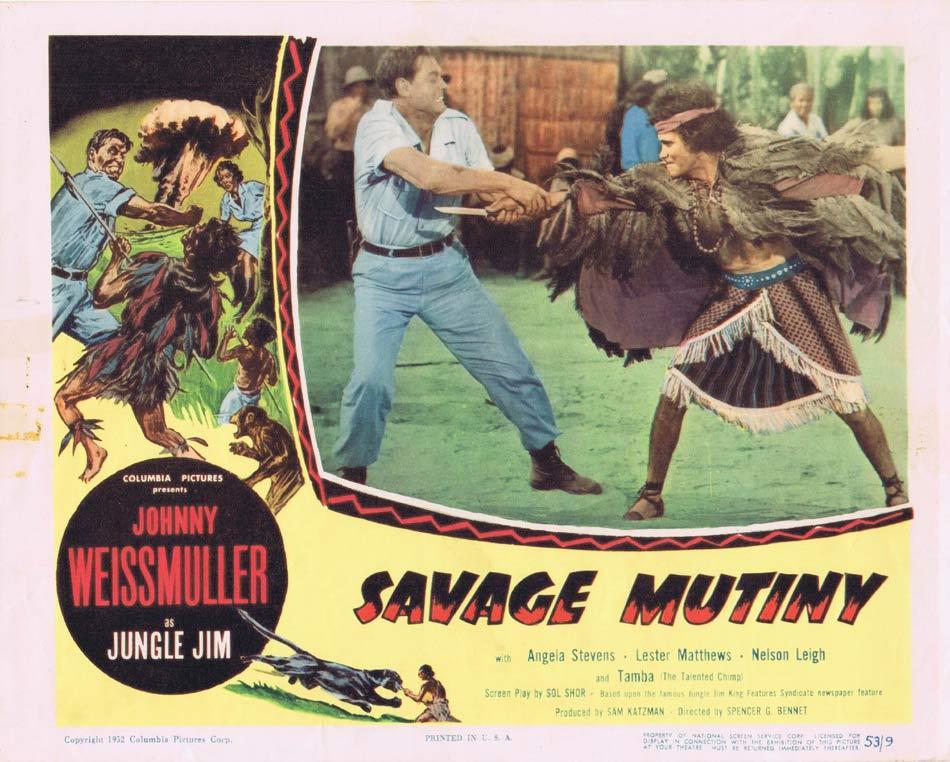 SAVAGE MUTINY Lobby Card 1 Johnny Weissmuller Jungle Jim