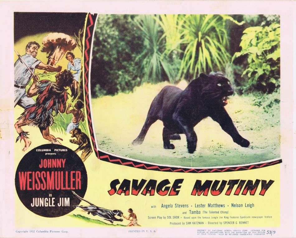 SAVAGE MUTINY Lobby Card 8 Panther Johnny Weissmuller Jungle Jim