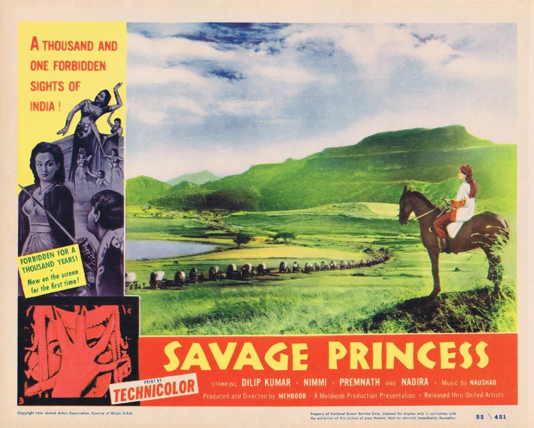 SAVAGE PRINCESS Lobby Card 2 Dilip Kumar Nimmi Premnath Nadira AAN Indian Cinema