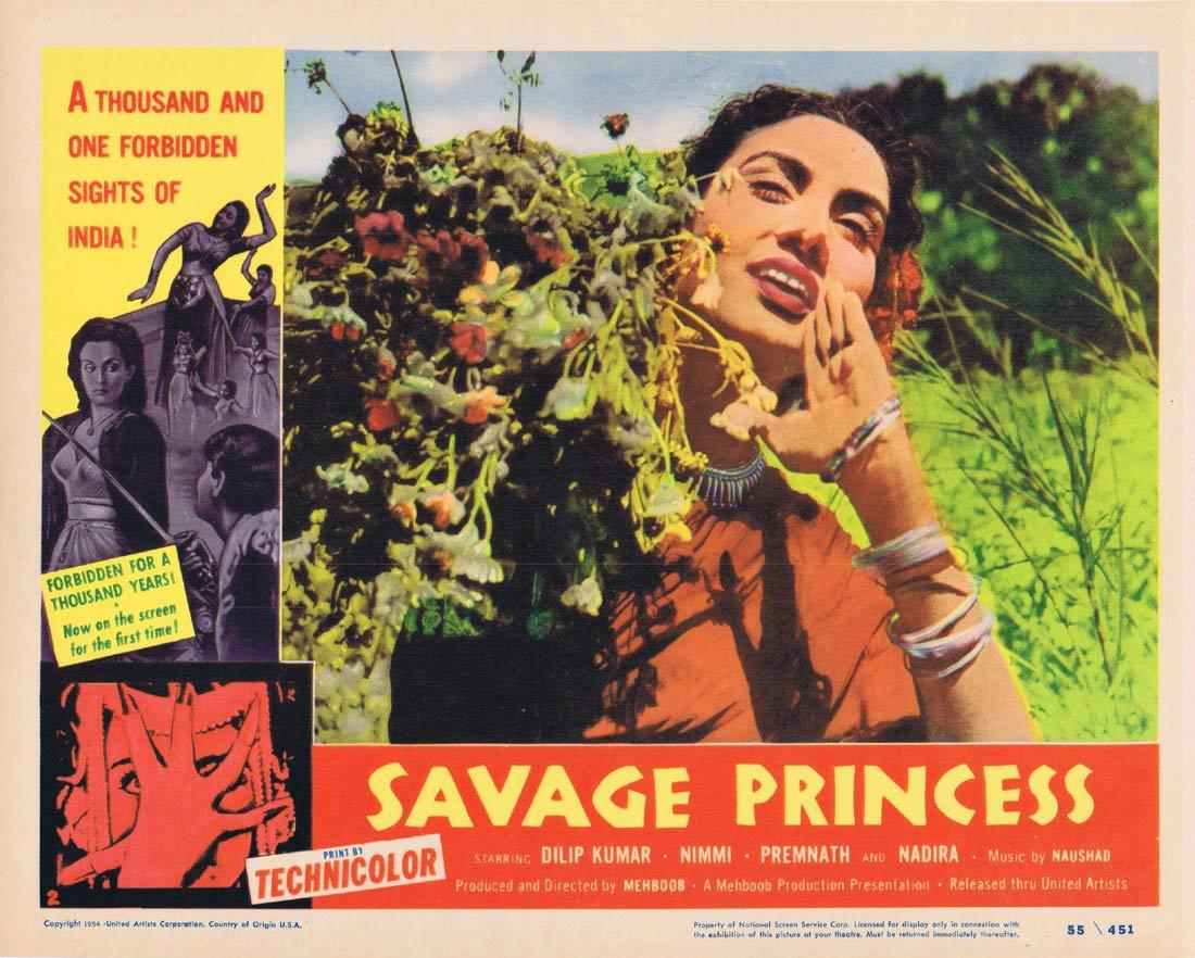 SAVAGE PRINCESS Lobby Card 3 Dilip Kumar Nimmi Premnath Nadira AAN Indian Cinema