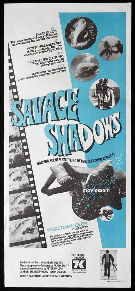 SAVAGE SHADOWS Original Daybill Movie Poster Shark Attack