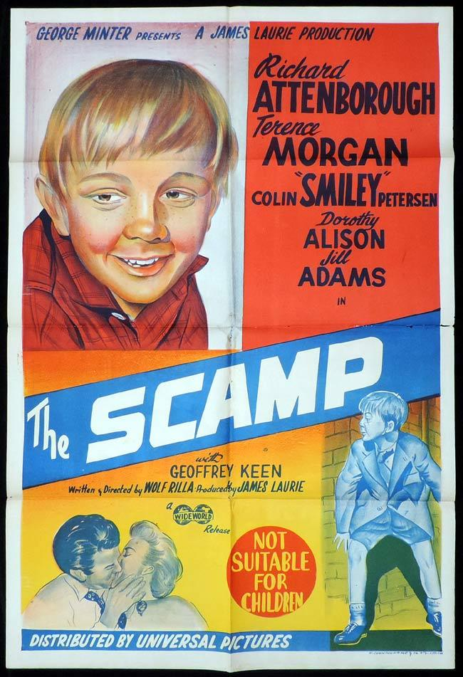 THE SCAMP Original One sheet Movie Poster Richard Attenborough Colin Petersen
