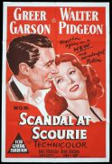 SCANDAL AT SCOURIE Original One sheet Movie Poster Greer Garson Walter Pidgeon Donna Corcoran