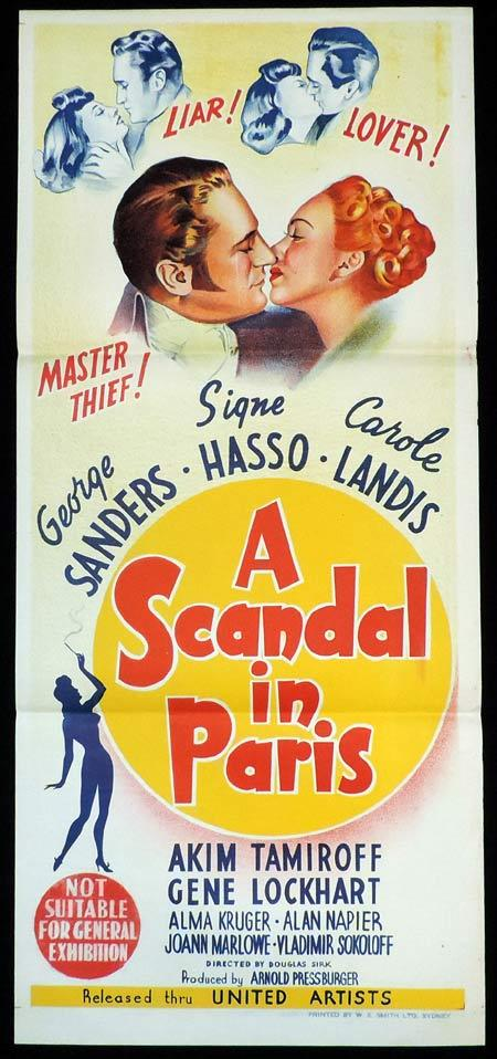 A SCANDAL IN PARIS Original Daybill Movie Poster George Sanders Carole Landis