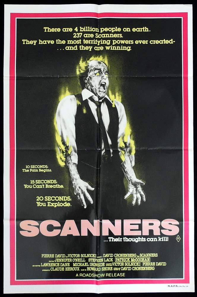 SCANNERS Original One sheet Movie Poster David Cronenberg Jennifer O'Neill