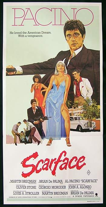 SCARFACE Movie Poster 1983 Pacino Pfeiffer De Palma Rare Australian Daybill