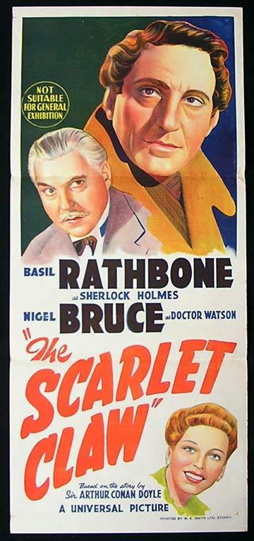 THE SCARLET CLAW '44 Sherlock Holmes BASIL RATHBONE Daybill poster