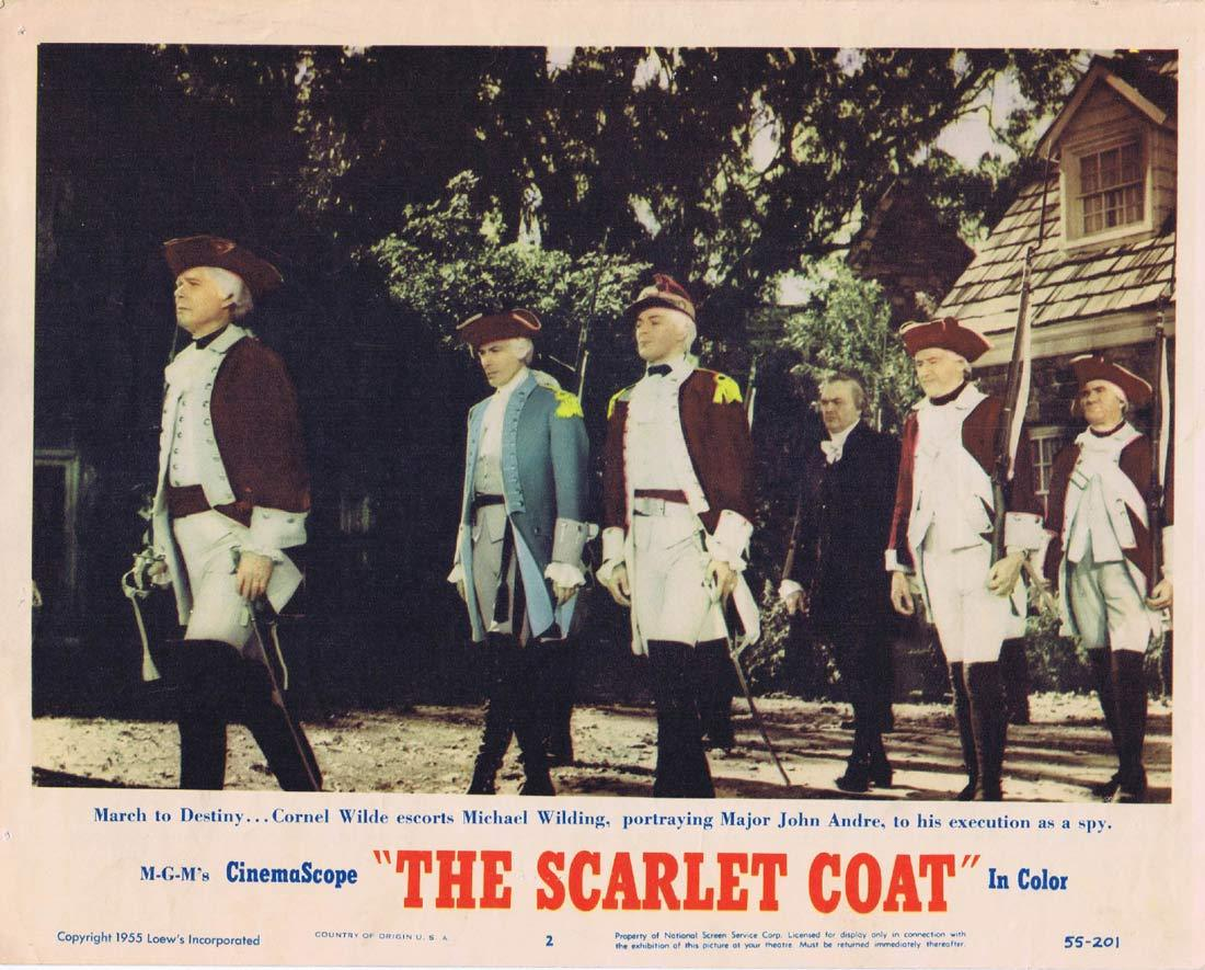 THE SCARLET COAT Original Lobby Card 2 Cornel Wilde Michael Wilding